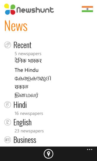 NewsHunt Windows Phone Home