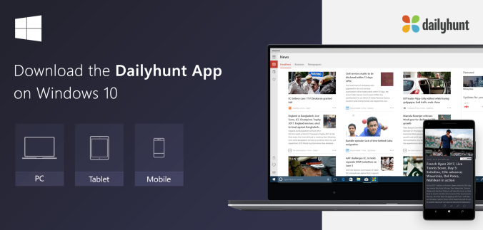 Dailyhunt-Windows-10-PC-mobile-tablet